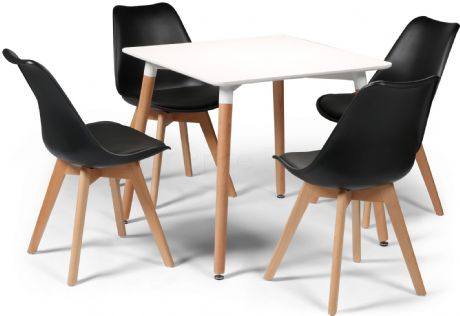 Toulouse Tulip Eiffel Designer Dining Set White Square Table & 4 Black Chairs Sale Now On Your Price Furniture